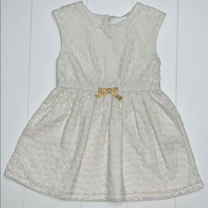 Cream Eyelet Dress With Bow Size 2T